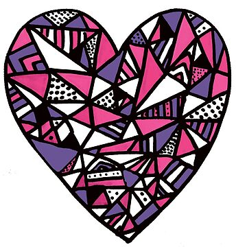 Pink Triangle Pattern Heart by ffionrosethomas