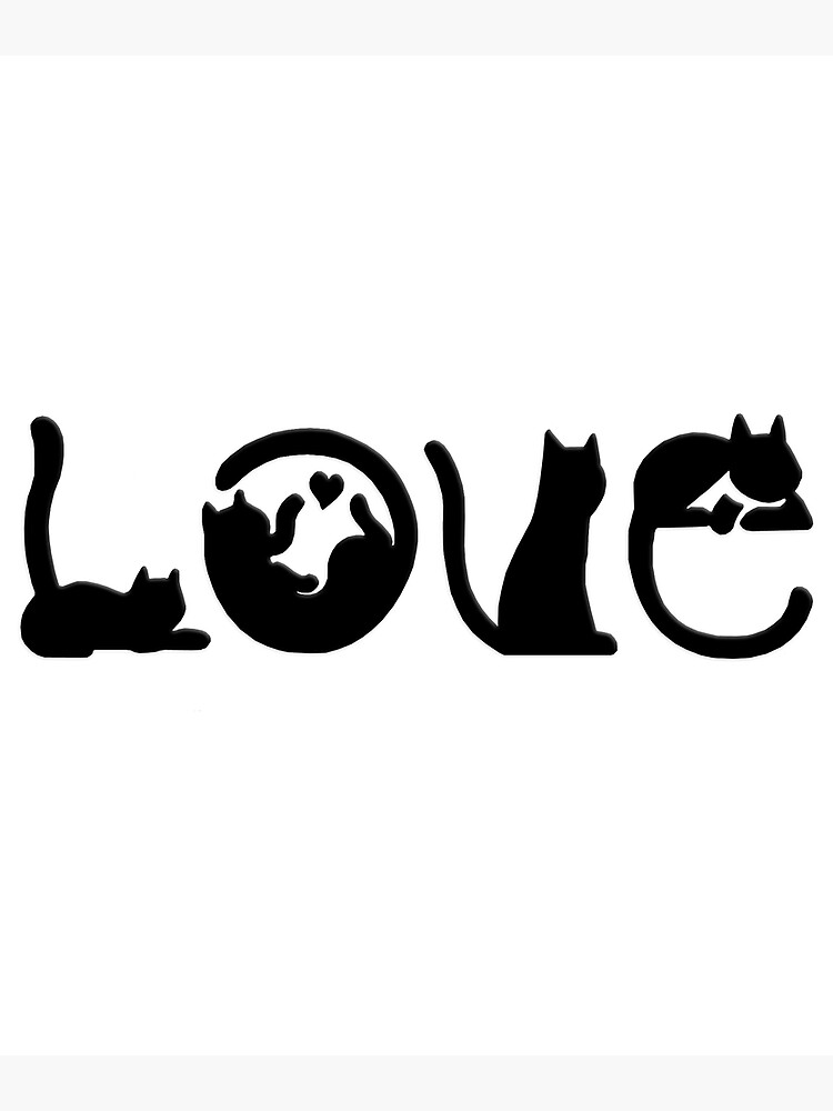 Love Cats Black Silhouette Greeting Card By Atteestude Redbubble