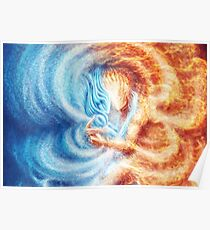 Fire and Ice  (closeup, rectangle) Poster