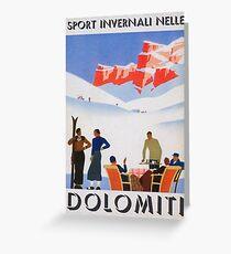 Tarjeta de felicitación Dolomitas, Italia Vintage Travel Poster