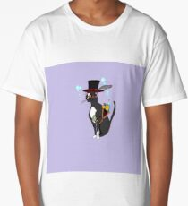 A Steampunk Cool Cat with Lavender Background Long T-Shirt