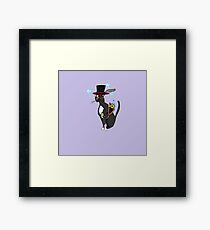 A Steampunk Cool Cat with Lavender Background Framed Print