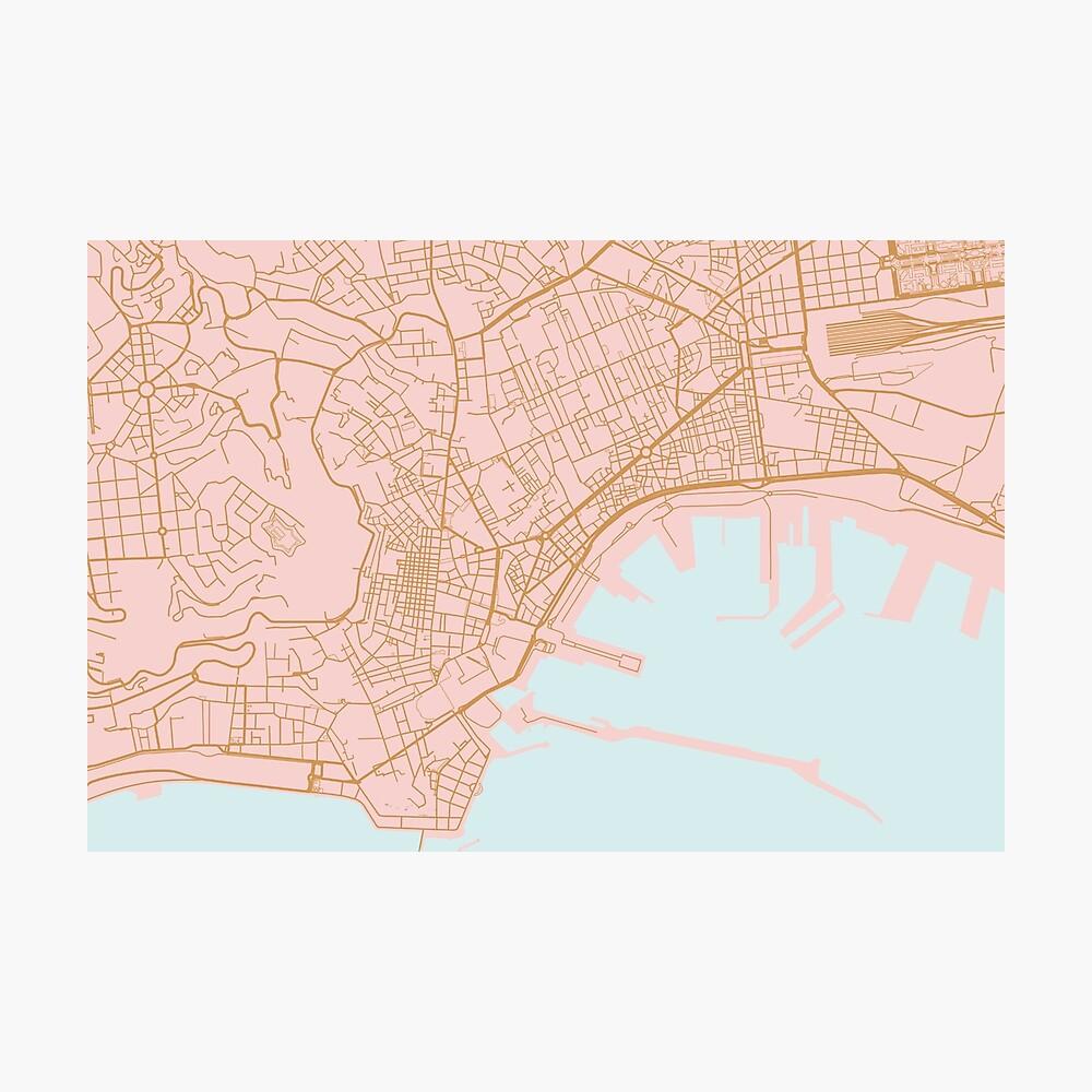 Neapel Karte, Italien Fotodruck