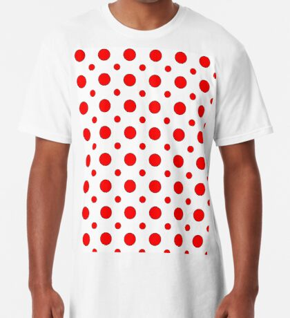 Red Dots on White  Long T-Shirt