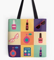 Cosmetics Set. Icons Set. Cosmetology. Fashion and Beauty. Perfume, Polish, Pomade. Female Beauty. Vector illustration. Flat Style Tote Bag