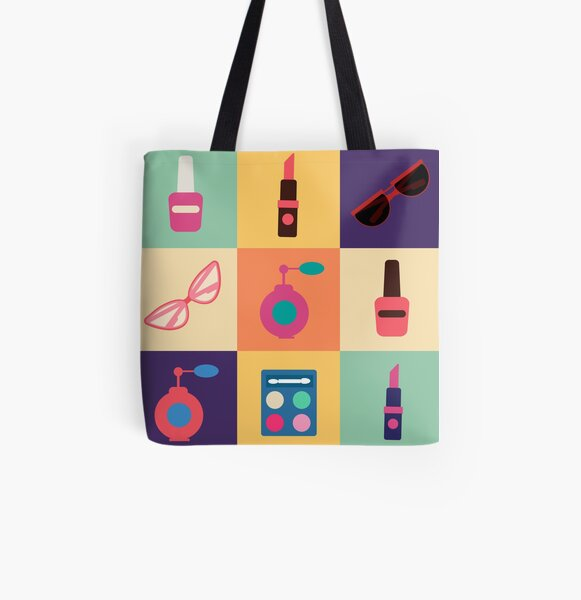 Cosmetics Set. Icons Set. Cosmetology. Fashion and Beauty. Perfume, Polish, Pomade. Female Beauty. Vector illustration. Flat Style All Over Print Tote Bag