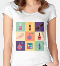 Cosmetics Set. Icons Set. Cosmetology. Fashion and Beauty. Perfume, Polish, Pomade. Female Beauty. Vector illustration. Flat Style Women's Fitted Scoop T-Shirt