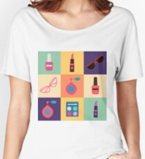 Cosmetics Set. Icons Set. Cosmetology. Fashion and Beauty. Perfume, Polish, Pomade. Female Beauty. Vector illustration. Flat Style Women's Relaxed Fit T-Shirt