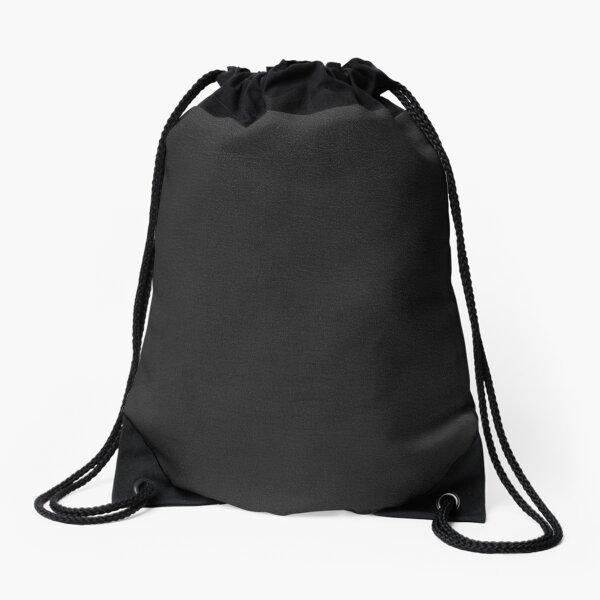 Black leather texture Drawstring Bag
