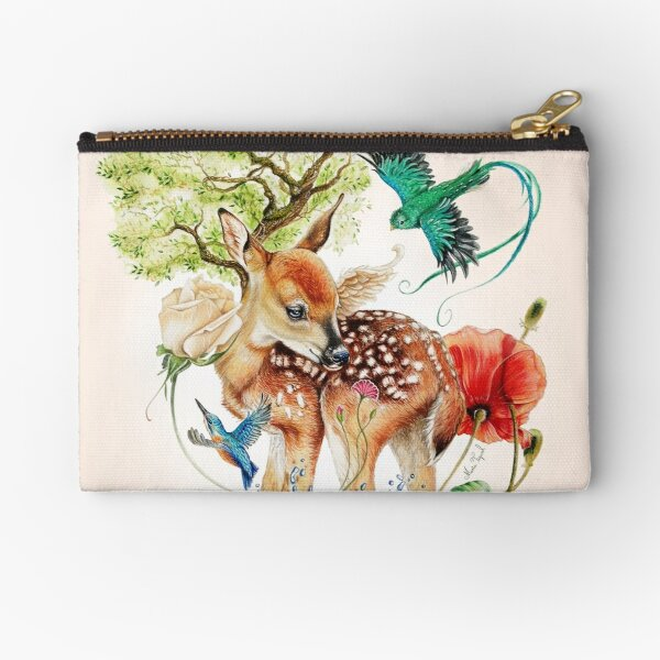 Deer with birds by Maria Tiqwah Zipper Pouch