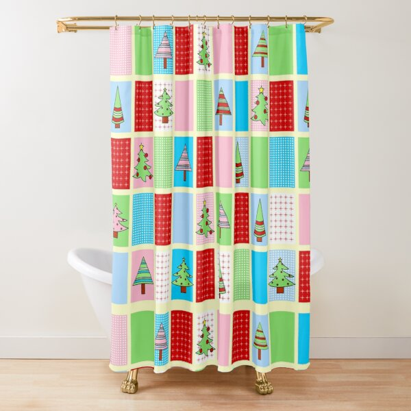 Colorful Christmas Squares Shower Curtain
