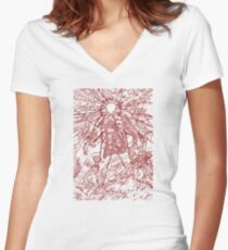 The Thing - Lines & Layers Blood Red Women's Fitted V-Neck T-Shirt