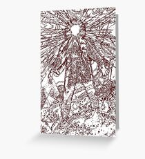 The Thing - Lines & Layers Deep Red Greeting Card