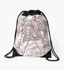 The Thing - Lines & Layers Deep Red Drawstring Bag