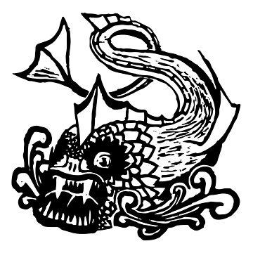 Demon Fish Block Print by Chaparralia
