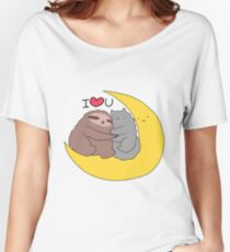 I Love You Moon Sloth and Cat Women's Relaxed Fit T-Shirt
