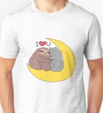 I Love You Moon Sloth and Cat T-Shirt