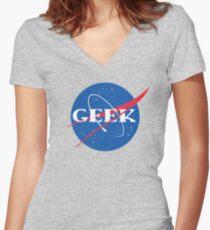GEEK NASA Parody Meatball Women's Fitted V-Neck T-Shirt
