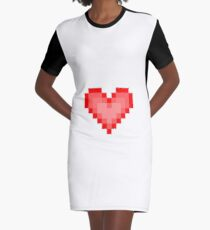 Pixel Heart Graphic T-Shirt Dress