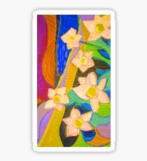 Golden Yellow White flowers landscape Sticker