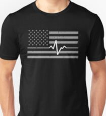 Paramedic Heartbeat Pulse Flag Unisex T-Shirt