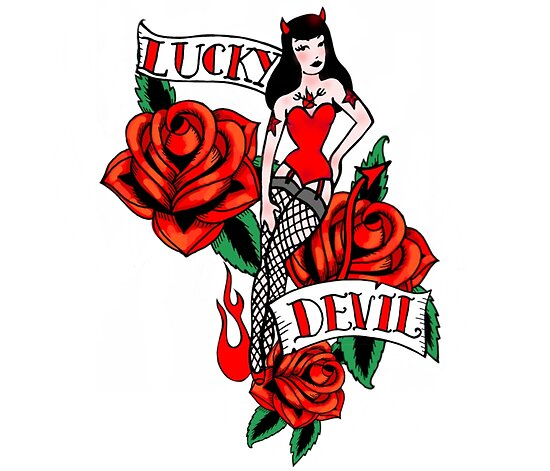 lucky devil tattoo style pinup girl posters by beesocks redbubble