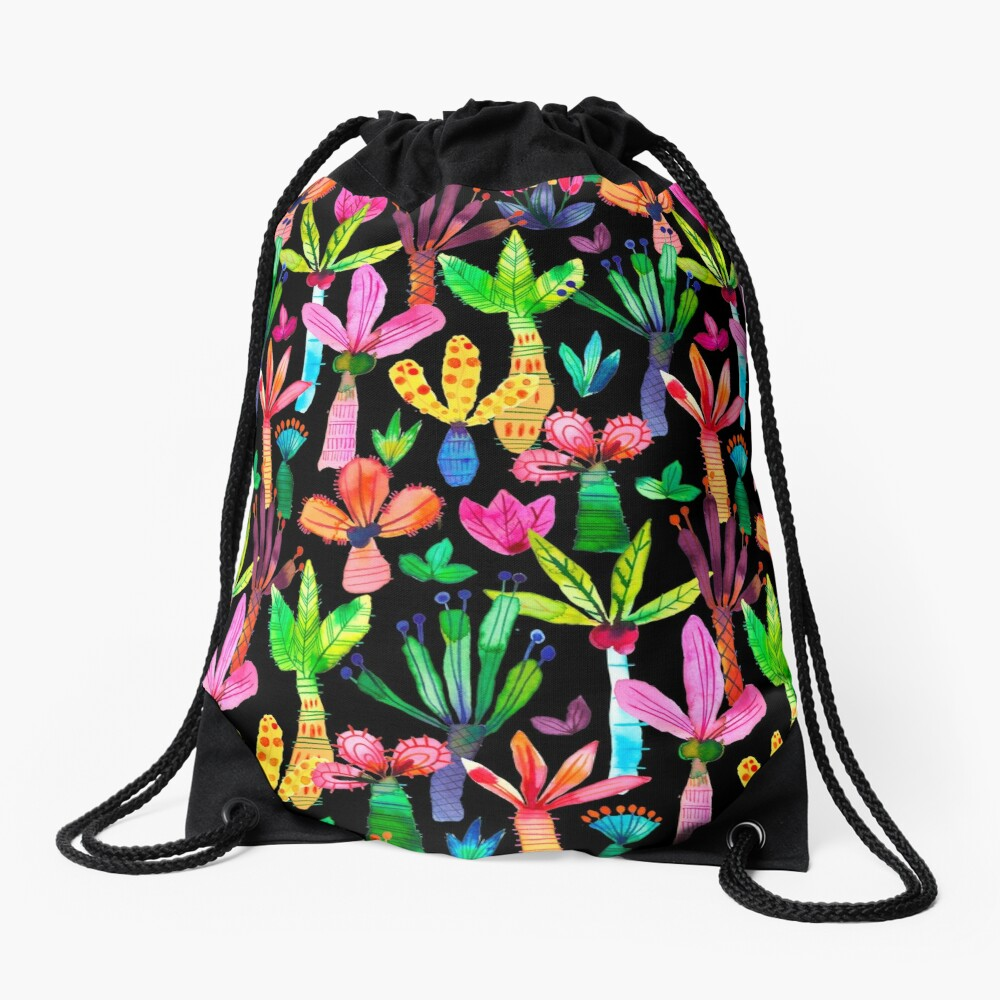 Jungle tropical garden - Fun palms pattern Drawstring Bag