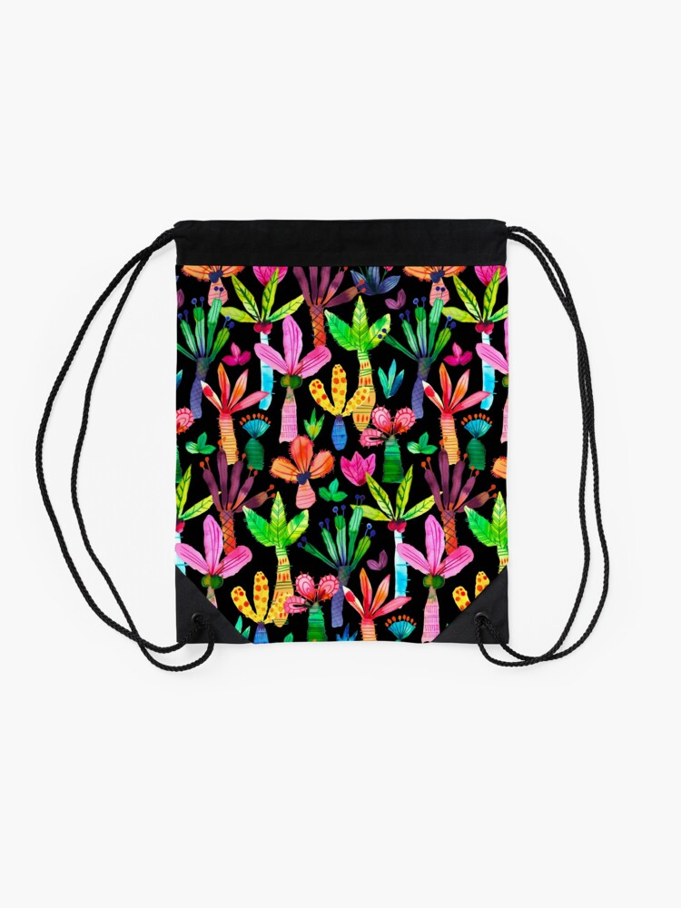 Alternate view of Jungle tropical garden - Fun palms pattern Drawstring Bag
