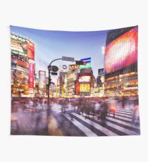 People on busy intersection Shibuya station street crossing Tokyo Japan art photo print Wall Tapestry