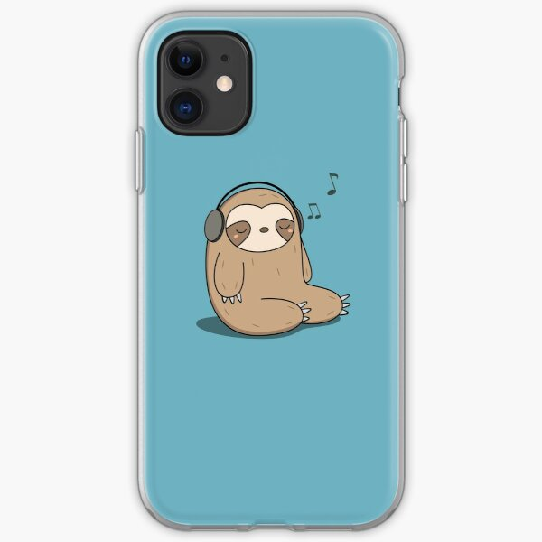 Kawaii Cute Sloth Listening To Music iPhone Soft Case