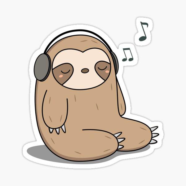 Kawaii Cute Sloth Listening To Music Sticker