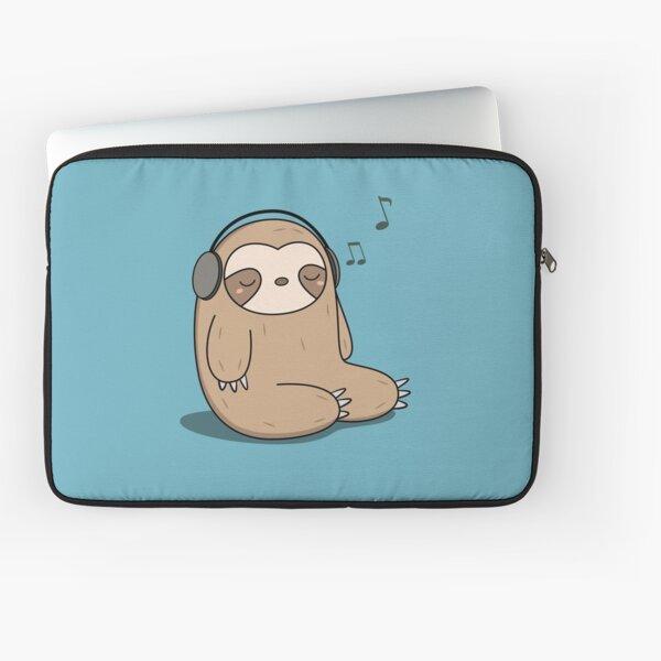 Kawaii Cute Sloth Listening To Music Laptop Sleeve