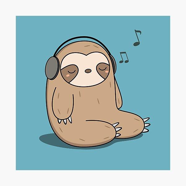 Kawaii Cute Sloth Listening To Music Photographic Print