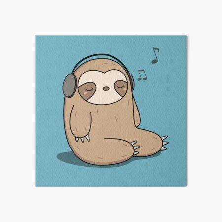 Kawaii Cute Sloth Listening To Music Art Board Print