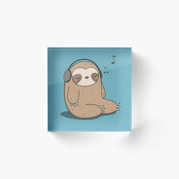 Kawaii Cute Sloth Listening To Music Acrylic Block