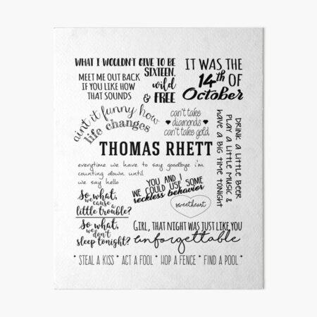 thomas rhett life changes album lyrics Art Board Print