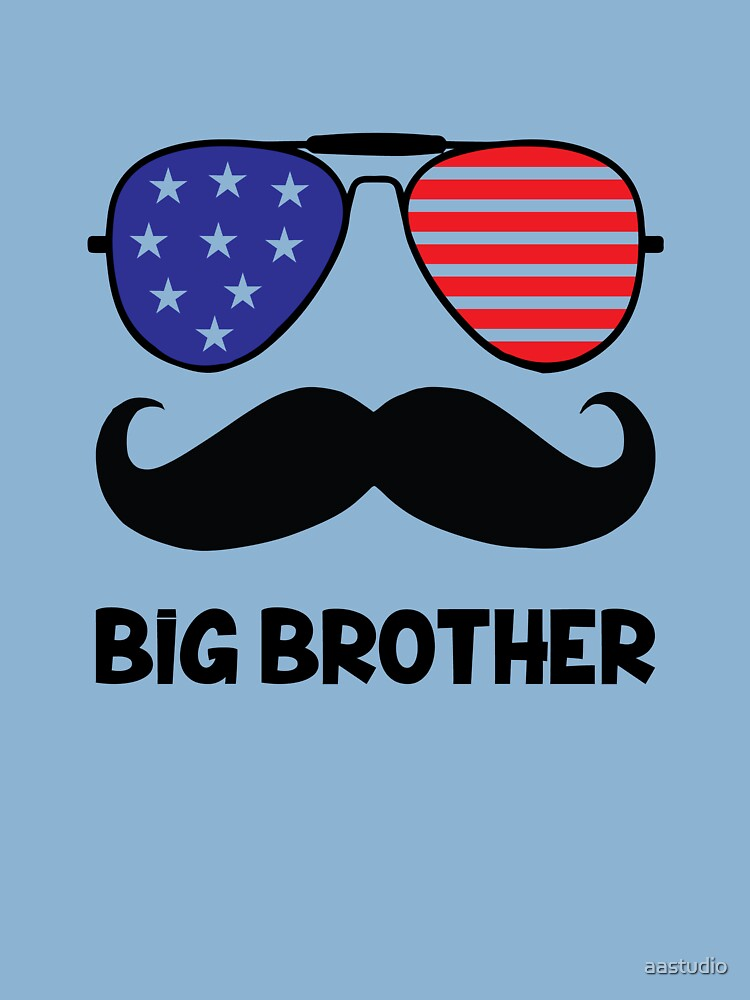 Funny Big Brother Mustache Kids T Shirt By Aastudio Redbubble