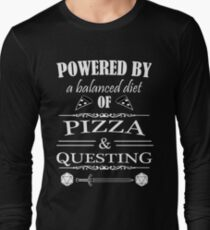 Powered By A Balanced Diet of Pizza & Questing T-Shirt