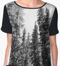 Black and White Pines Women's Chiffon Top
