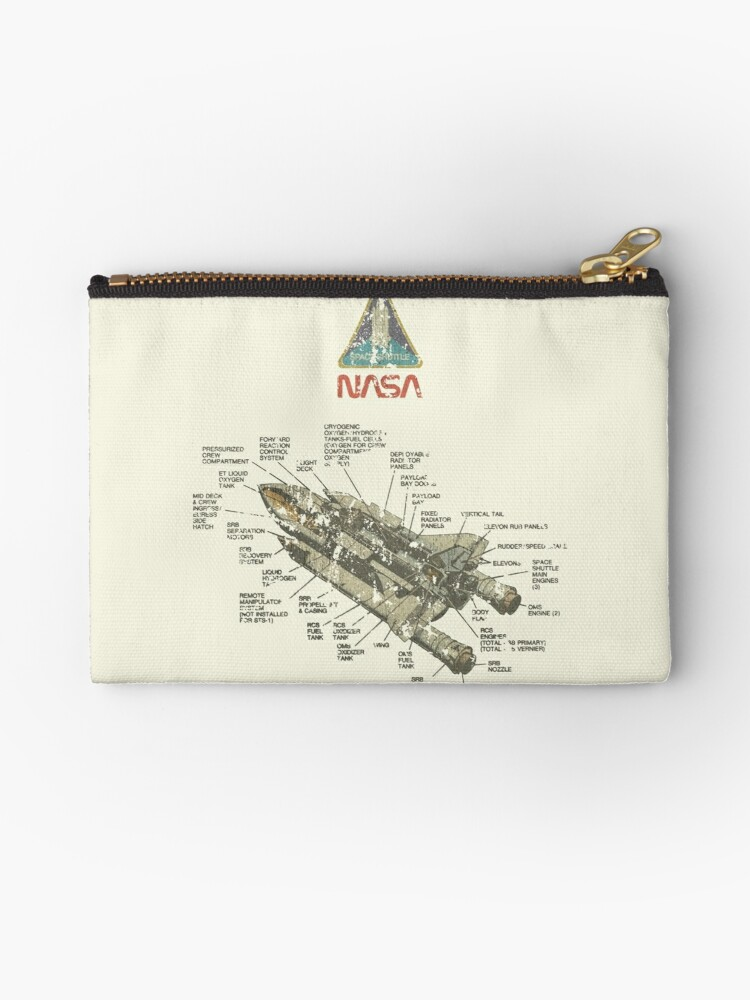 Vintage Space Shuttle Diagram Studio Pouches By Jacob Charles Dietz