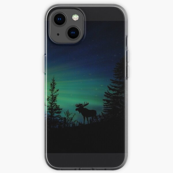 A Moose and the Northern Lights iPhone Soft Case