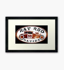 Rusty Rat Rod Nation Design Framed Print