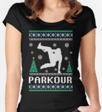 Parkour Ugly Christmas T-Shirt Women's Fitted Scoop T-Shirt