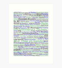 Psych tv show poster, nicknames, Burton Guster Art Print