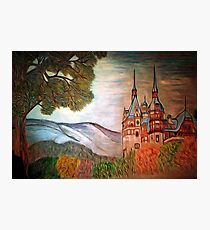 A digital painting of my coloured pencil drawing of Peles Castle, Prahova County, Romania Photographic Print