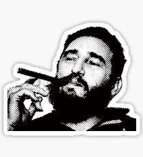Young Fidel Castro Smoking Cigar Sticker