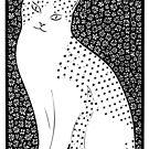 Cat w Flowers by Yvette Bell