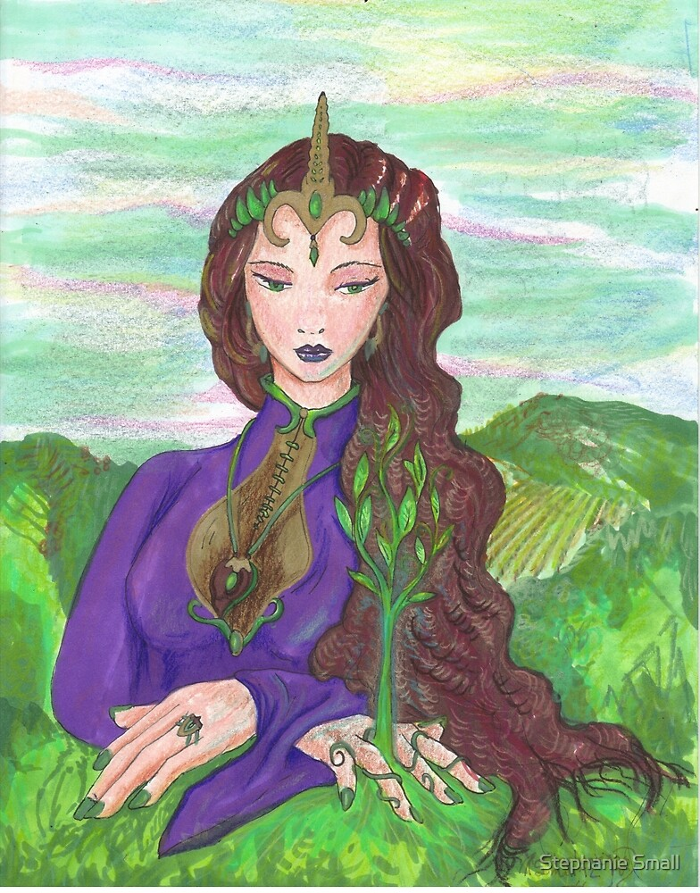 Earth Goddess Growing Flower Plants  by Stephanie Small