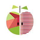 «apple, geometric apple, red, green design» de happyyakk