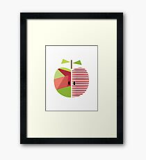 apple, geometric apple, red, green design Framed Print